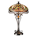 60W Elegant Tiffany Glass Light with Resin Stand