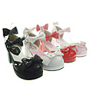 Handmade PU Leather 6.5cm High Heel Sweet Lolita Sandals with Bow