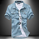 Men's Slim Solid Color Denim Short Sleeve Shirt