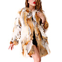 Beautiful Long Sleeve Collarless Fox Fur Casual/Party Coat