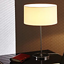 60W Contemporary Table Light with Cylinder Fabric Shade and Chrome Finished Lamp Pole