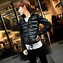 Women's Stand Collar Drawstring Waist Zip-up Down Jacket