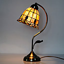 40W Tiffany Table Light with Stained Glass Shade in Arc Arm Style