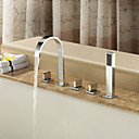 Contemporary Brass Tub Faucet with Hand Shower - Chrome Finish