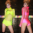Hot Girl Fluorescence Semi Transparent Lycra Gymnastikanzug Sexy Uniform