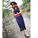 Women's Round Collar Contrast Color Maxi Dress