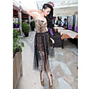 Women's Strapless Leopard Mesh Splicing Dress