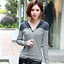 Women's 100%Cotton Hooded Stripe T-Shirt