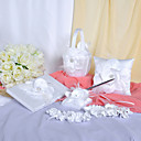 Chic Wedding Collection Set In White Satin Met Mooie Bloem (6 stuks)