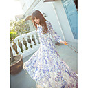 Women's Chiffon Floral Print Long Sleeve Maxi Dress