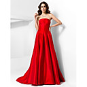 A-line Strapless Court Train Satin Evening Dress in spired by Jennifer Aniston at the 85th Oscar