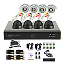 8 Channel CCTV DVR System(4 Outdoor Warterproof Camera&4 Indoor Dome Camera,PTZ Control)