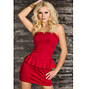 Stuck Sexy Strick Mini Kleid Long Pullover Dress Red(Hip:90-104cm  Length:105cm)